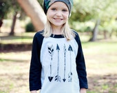 Arrows Kids T Shirt- Three Quarter Sleeve Raglan - Kids Hipster Clothes - Native or Navajo Style - Baby and Toddler - Boys or Girls Clothing