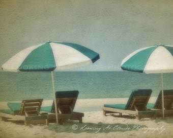 vintage style beach photo,  umbrellas and beach chairs, relax, shabby chic, aqua turquoise blue summer beach scene