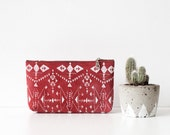 Tribal Screen Printed  Leather Pouch red  No. Tzp-102