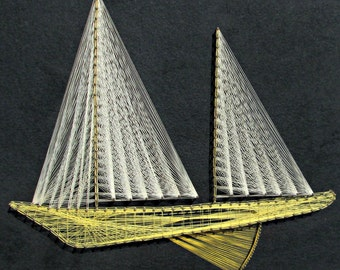 Vintage 70s String Art - Geometric Sailboat Wall Hanging - White and Yellow Boat String Art on Black Felt Background - Ready to Hang