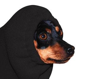 MINIATURE PINSCHER Dog Hood, Dog Hat, Fleece Dog Snood, Dog Ear Warmer, Dog Neck Warmer, Min Pin Dog Clothes, Dog Accessories, Winter Hat,