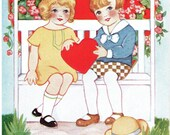Young Love Vintage Valentine's Day Postcard Boy and Girl under Arbor