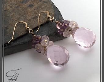 Cascade Earrings, Pink Quartz Earrings, Stone Earrings, Dangle Earrings, in Gold Fill, Drop Earrings, Handmade Earrings, Gemstone Earrings