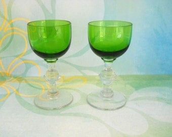 Vintage Aperitif/Cordial Forest Green/Clear Stemware - Set of 2