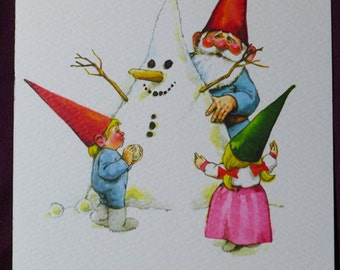Vintage Unieboek Gnome Christmas Card