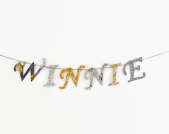 Custom Name Banner ~ Fabric Banner ~ Fabric Letters ~  Photo prop ~ WINNIE Collection