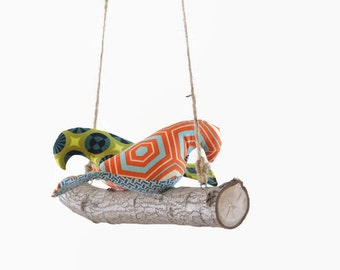 Love Birds - Bird Swing, Bird Mobile in Boy Themed Fabrics