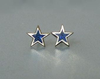 Star Lapis Earrings  - Lapis Lazuli Blue Gemstone Stud Earrings in Recycled Sterling Silver