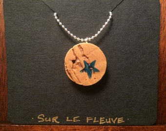 Hand Stamped Blue Star Cork Pendant Necklace