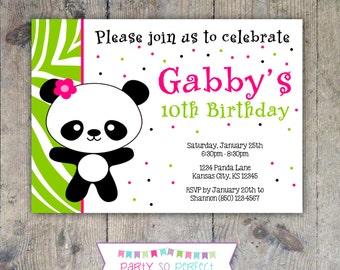 PANDA Birthday Party 5x7 Invitation - Girl PRINTABLE
