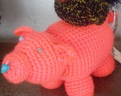 Crochet Stuffed Animal Pig -CAROL the Neon Coral Pig with Turquoise Howlite Skull Piercing- Pig Plush Home Decor-Farm Animal Collectible