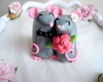 Mouse Cake Topper Wedding Cake Topper Bride and Groom Anniversary Keepsake Wedding Cake Mr and Mrs Wedding Keepsake