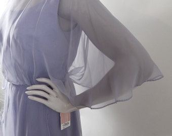 Vintage 70s Chiffon Tiered Dress in Pale Lilac from Miss Elliette. NOS with Tags. Waist to 28