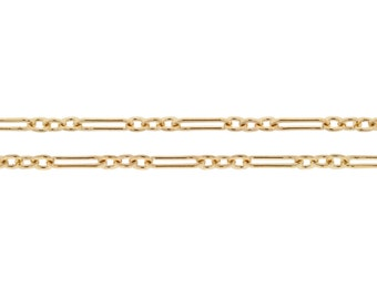 14Kt Gold Filled 5.5x2mm Flat Long and Short Cable Chain - 1ft Made in USA High Quality Bright and Shiny CutChainSale (2388-1)/1