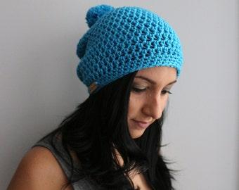 Electric Blue Slouchy Beanie Pom Pom Hat, Crochet Fashion Hat