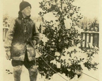 "Vintage Photo ""Sledding Was His Passion"" Snapshot Photo Antique Photo Black & White Photograph Found Photo Paper Ephemera Vernacular - 66"