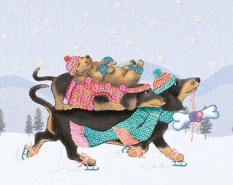 Sausage Dog Christmas Card (dachshund christmas card, moxie christmas card, cute dog festive holiday card, dog lover christmas card)