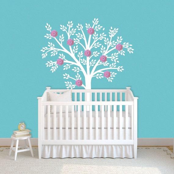 White Tree Wall Decal  Nursery Children Decor Art Baby Kids Vinyl Wall Sticker