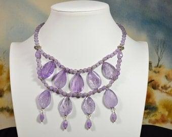 Chandelier Necklace, Bead Necklace, Bib Statement Necklace,Bubble Statement  Necklace, Chunky Necklace,Lavender Amethyst