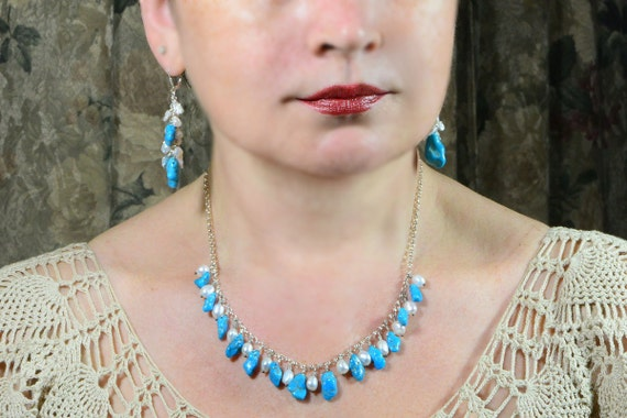 Sleeping Beauty Turquoise and Freshwater pearl. Dangle Necklace. Turquoise Sterling Silver Necklace