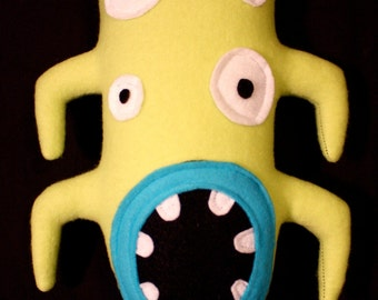 MINI PLUSH MONSTER Sheldon in Green and Blue with Four Eyes and Arms