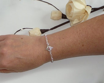Silver bracelet with light Rose Swarovski crystals - Feminine - Free shipping to CANADA and USA