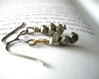 Faux Pyrite Niobium Earrings - HYPOALLERGENIC Ear Wires / Unique Mixed Metals, Artificial Fools Gold Rough Nugget Jewelry, Earthy Metallic