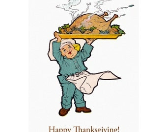 Thanksgiving Card - Chef Boy w Big Turkey on Platter - Retro Greeting Card