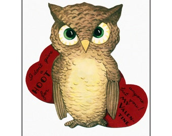 Valentines Day Card - Owl Greeting Card - Repro from Vintage Valentine