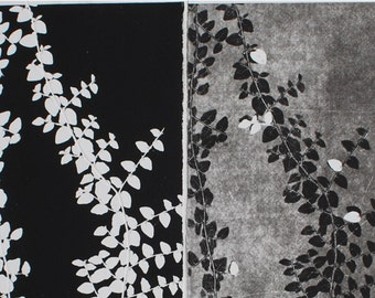 Modern Art, Contemporary Art, Original Etching, Ivy Design, set of 2