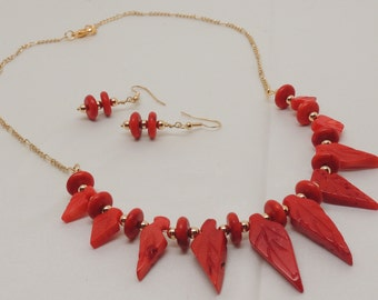 Coral Leaf Collar Necklace and Earrings