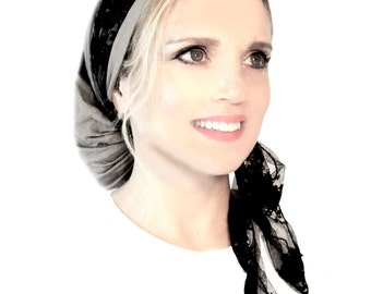Snoods, Head Scarf, Tichel, Chemo Head Scarf, Hair Snood, Snood, Bandana: Taupe Black Lace Wrap. . . see many more styles in shop
