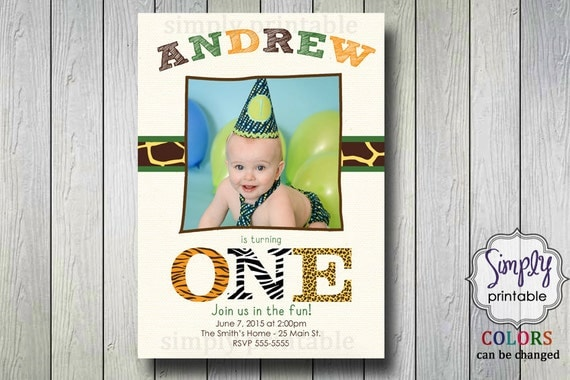 1st Birthday Zoo Invitation with Photo