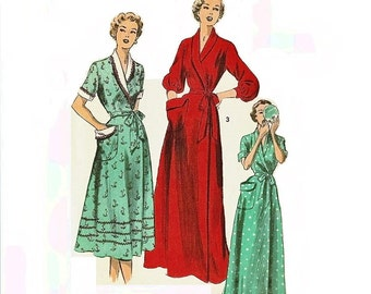 1950s Apron Dress Pattern Housecoat with Collar and Patch Pockets Bust 30 Size 12 Advance 5371 Womens Vintage Sewing Pattern