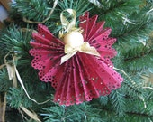 Burgundy Angel Tree Ornament Burgundy Paper Lace Ribbon Angel Christmas Tree Ornament SnowNoseCrafts