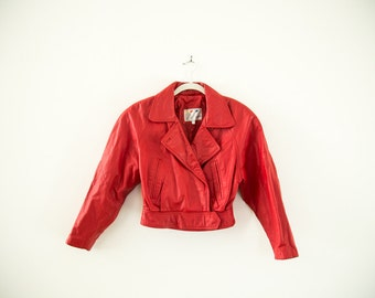 Vintage 80s Red Leather Motorcycle Jacket