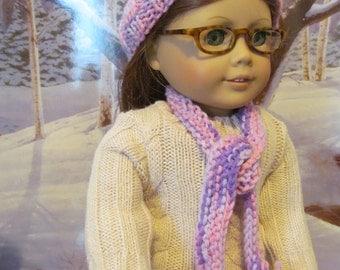 Doll Ski Hat, Knit Doll Hat , Scarf,  18 inch  Doll Accessories