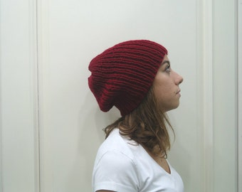 Hand Knitted BURGUNDY red SLOUCHY BEANIE  hat