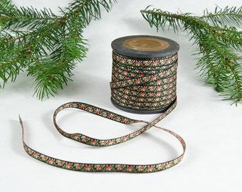 "Vintage Ribbon 5 yard cut Jacquard Floral 1/4"" wide - Black Red Green Pink -B6"