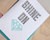 Valentine's Day, Letterpress all occasion card 'Shine On (you crazy diamond)' Pink Floyd, geometric card. In blue & black with blue envelope