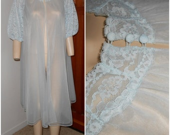 Vintage Double Layer Chiffon Light Blue Peignoir with Lace Trim by Vanity Fair size 34