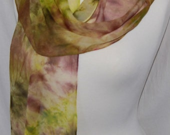 Hand Dyed chiffon Silk Scarf  Hand painted Scarf -  mahogany brown, chartreuse, moss green  Batik women's fashion