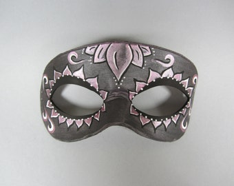 Day of the Dead Pink Accented Lotus Flower Leather Mask, Unisex