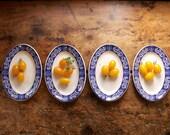 Vintage Set of English Hotelware - Four Oval Plates with Indigo Blue Borders