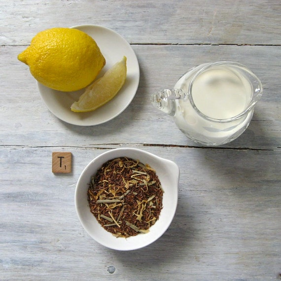 Organic Lemon Cream Rooibos Tea • Herbal Blend with Lemongrass & Marigold Petals • Loose Leaf Tea