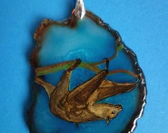 FREE SHIPPING handpainted stone   Pendant Bat 2