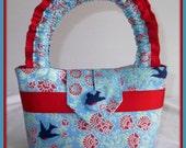 Little Girls Pretty Floral and Bird fabric Handbag.