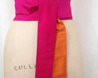 Silk Shantung Obi Sash, Hot Pink and Orange Reversible