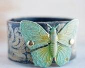 Belt Bracelet Leather Cuff Bohemian Boho Gypsy Hippie Jewelry Custom Gift Idea Butterfly