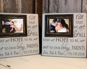 Parent of The Bride Gift Picture Frame,  Wedding Gift, Thank You Gift, Mother of the Bride Gift, Parent Wedding gift, Parent Thank You Gift